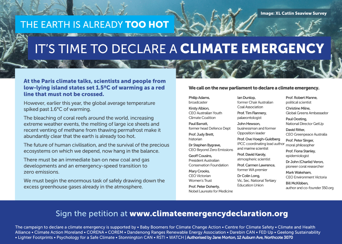 Scientists Business Leaders And Prominent Australians Say Climate Is Already Too Hot Call For Emergency Action Climate Emergency Declaration