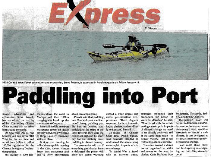 Kayak to Canberra - Climate Emergency Declaration