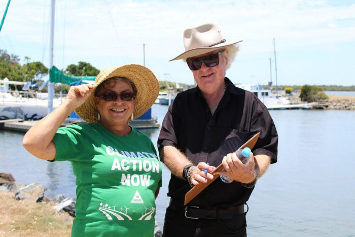 Mayor of Ballina, David Wright, signs the Climate Emergency Declaration petition – together with Gail